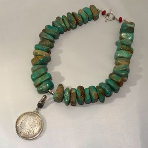 Turquoise Necklace with Coin Pendant